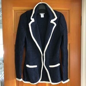 Oscar de la Renta Nautical Silk Knit Blazer